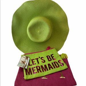OLE AMERICA Green Floppy Hat Canvas Zip Bag NWT